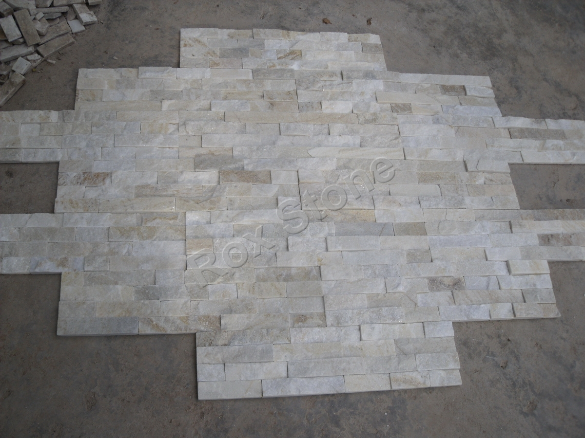 Beige White Quartzite Natural Stone Install Golden White