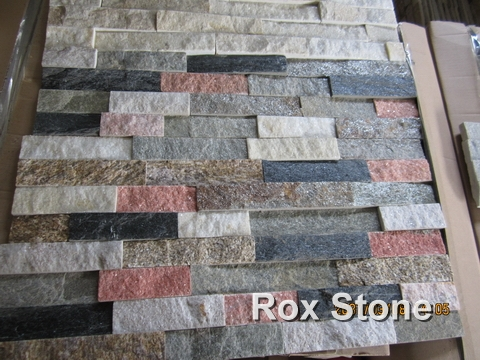 Mixed Color Quartzite Cultured Stone 60x15cm Panel